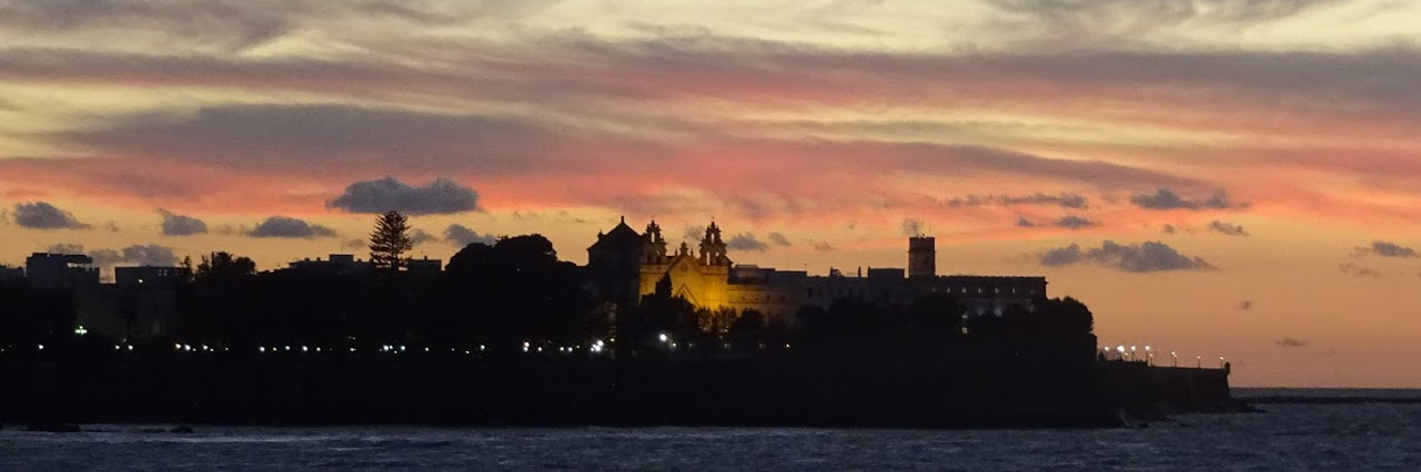 Cadiz sunset from sea