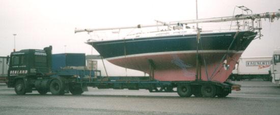 Artemis of Lleyn being transported by road in 1999