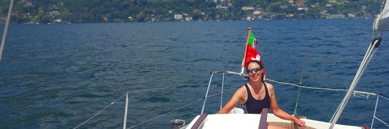 Heidi sailing on Lake Maggiore