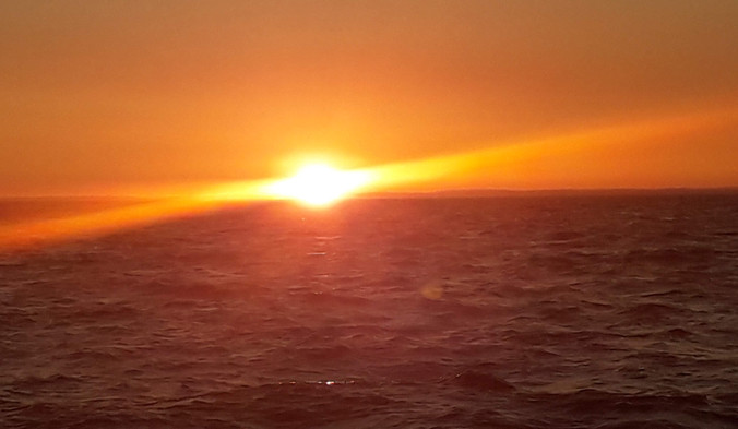 Sonnenuntergang vor der 1. Nachtsegelung